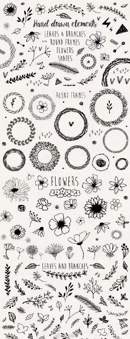 【手工坊】简笔画,手抄报和手帐的花边素材,收藏备用!图片