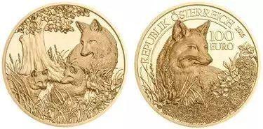2016年奥地利我们视野中的野生动物100欧元纪念金币图片