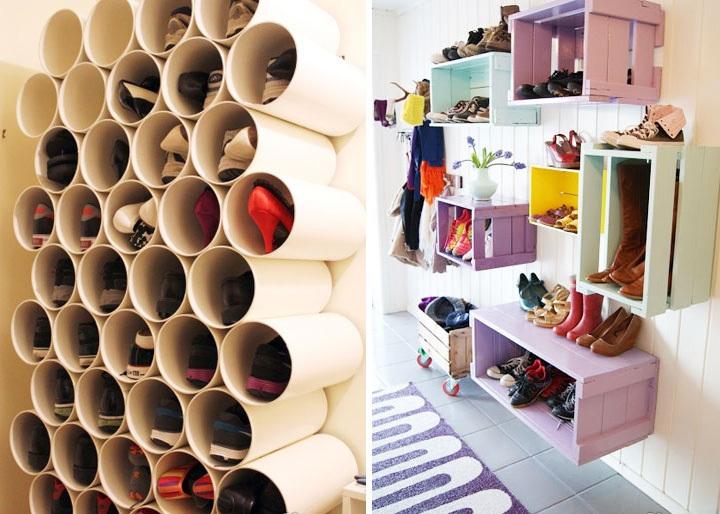 鞋盒,牛奶箱手工制作的diy鞋柜