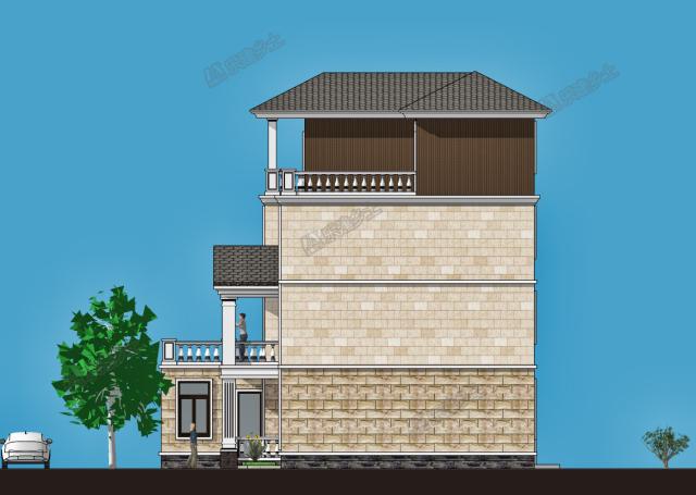 西立面图 这栋四层别墅,外表温馨舒适,蕴含着欧式的古典气息.