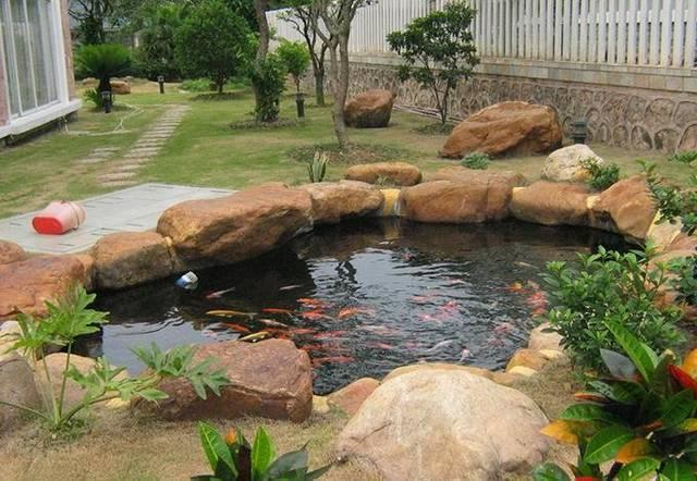 别墅庭院鱼池设计赏析,有锦鲤在假山水池中畅游