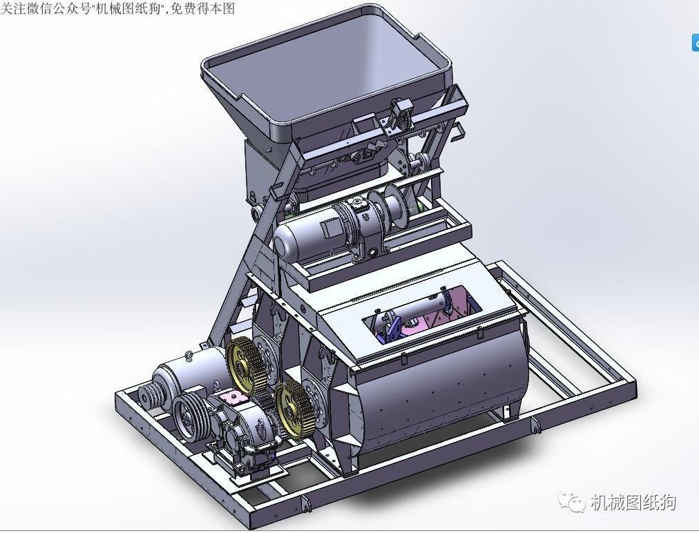 【工程机械】js500混凝土搅拌机3d模型图纸 solidworks设计