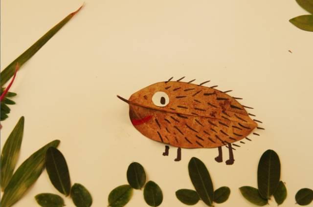 画出小刺猬的刺,小脚,嘴巴,眼睛.