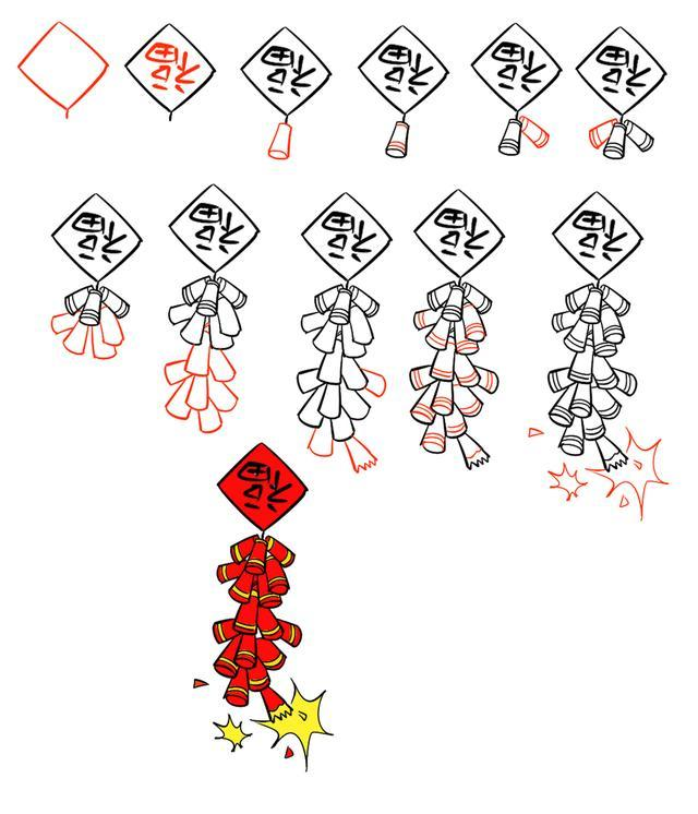 鞭炮和灯笼简笔画_儿童简笔画:灯笼,鞭炮,红包等简笔画,与您一起迎接新年