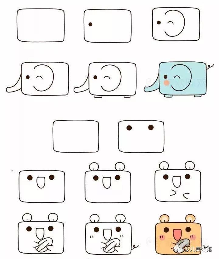 教你用方框画出小动物,只要三分钟一看就会,快和孩子一起画吧