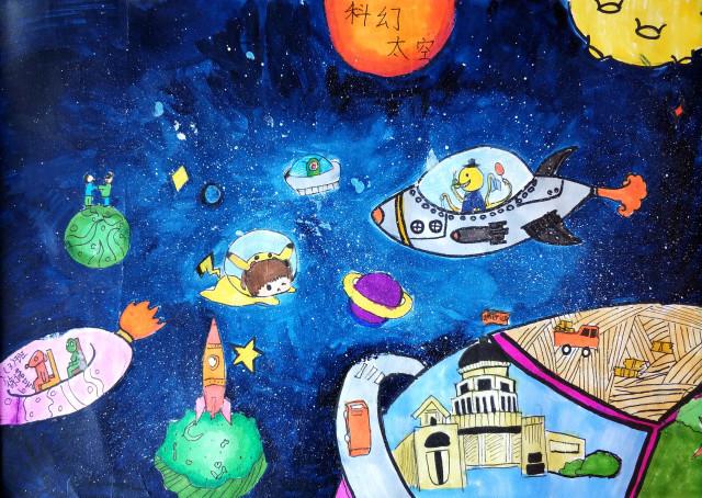 """这幅画名为""""未来太空"""",主要绘画材料为水粉颜料.图片"""