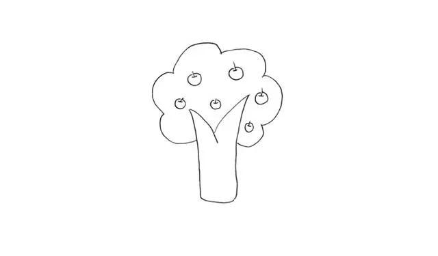 师讯网推荐 幼儿园儿童简笔画 苹果树的画法