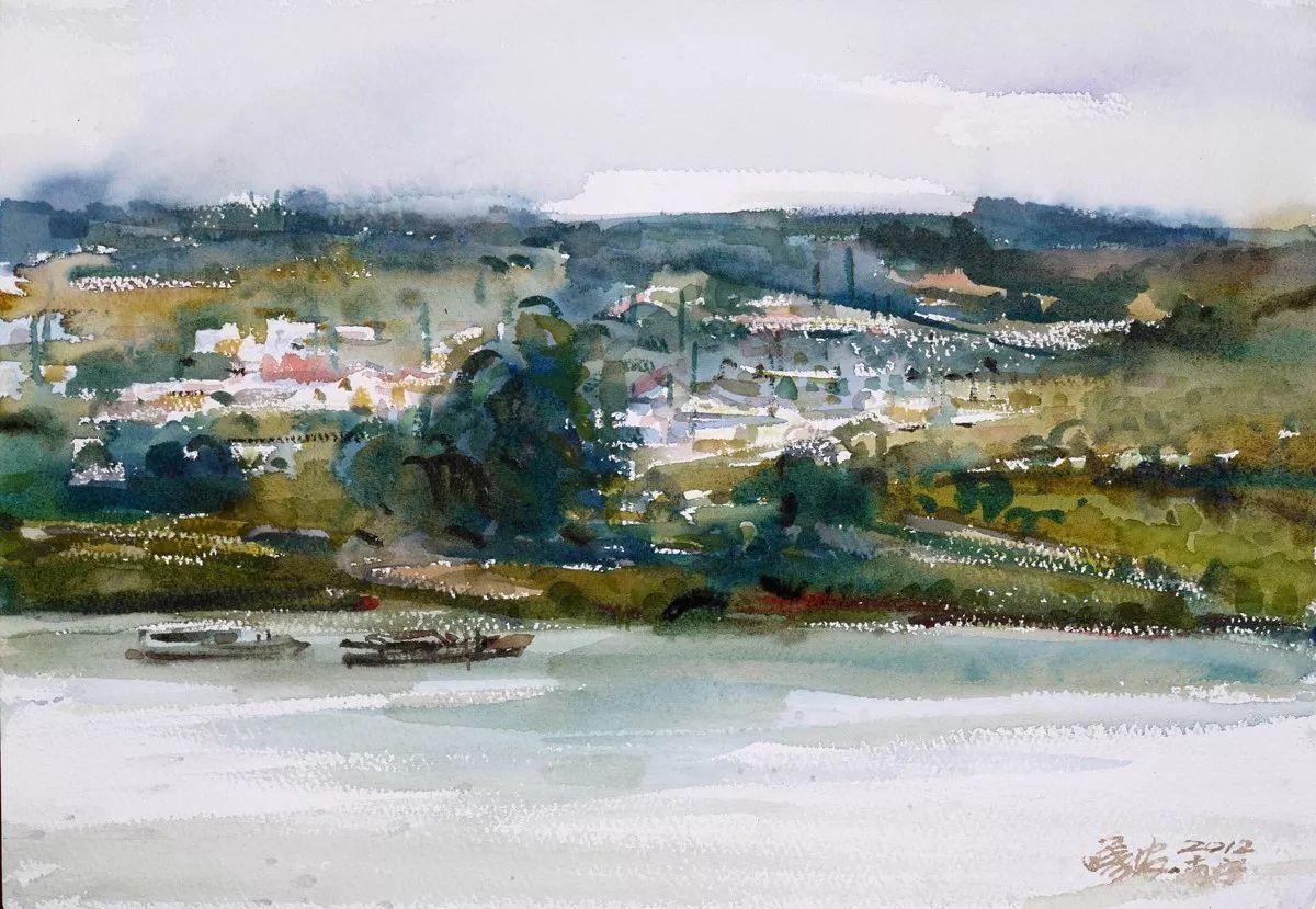 河邊風景 30×40cm 水彩