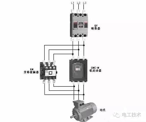 当采用旁路接触器时,可通过内置信号继电器k2控制旁路接触器.