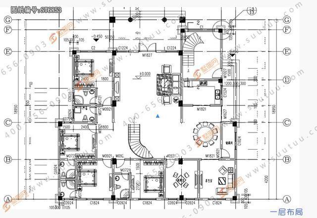 三间对称别墅设计图