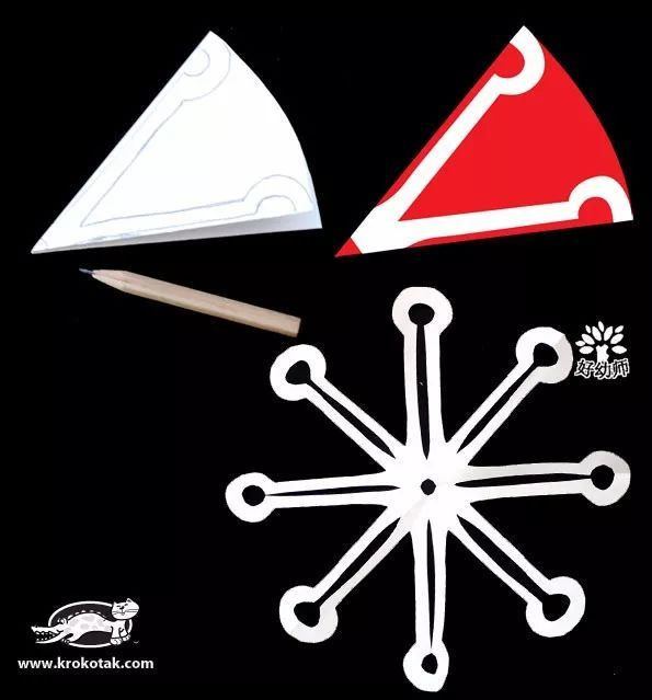 把正方形卡纸折成三角形,剪掉三角形的一角,变成扇形 2.