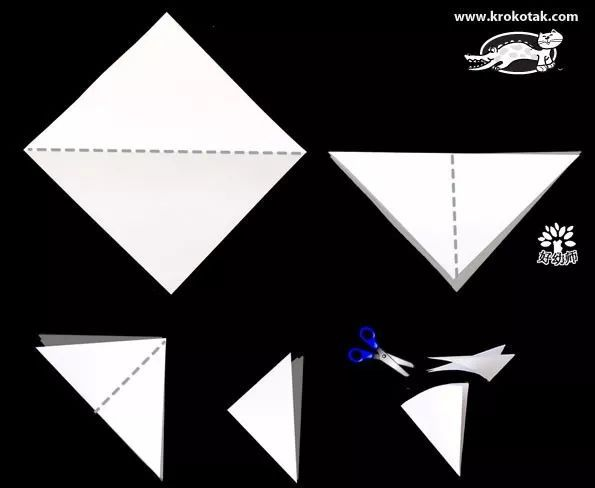 把正方形卡纸折成三角形,剪掉三角形的一角,变成扇形