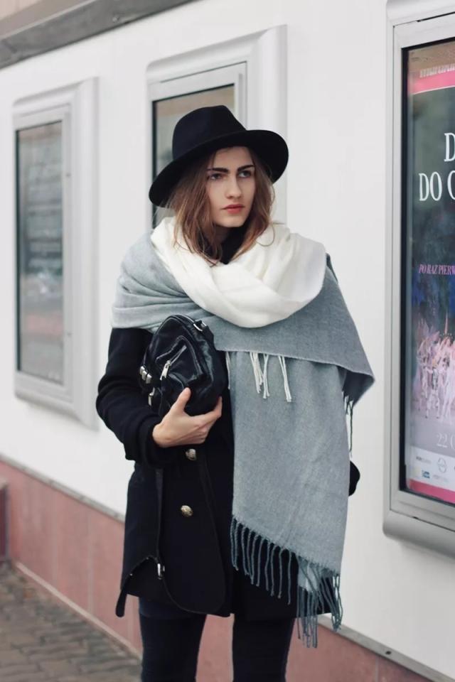 适用于搭配长款外套的围巾系法