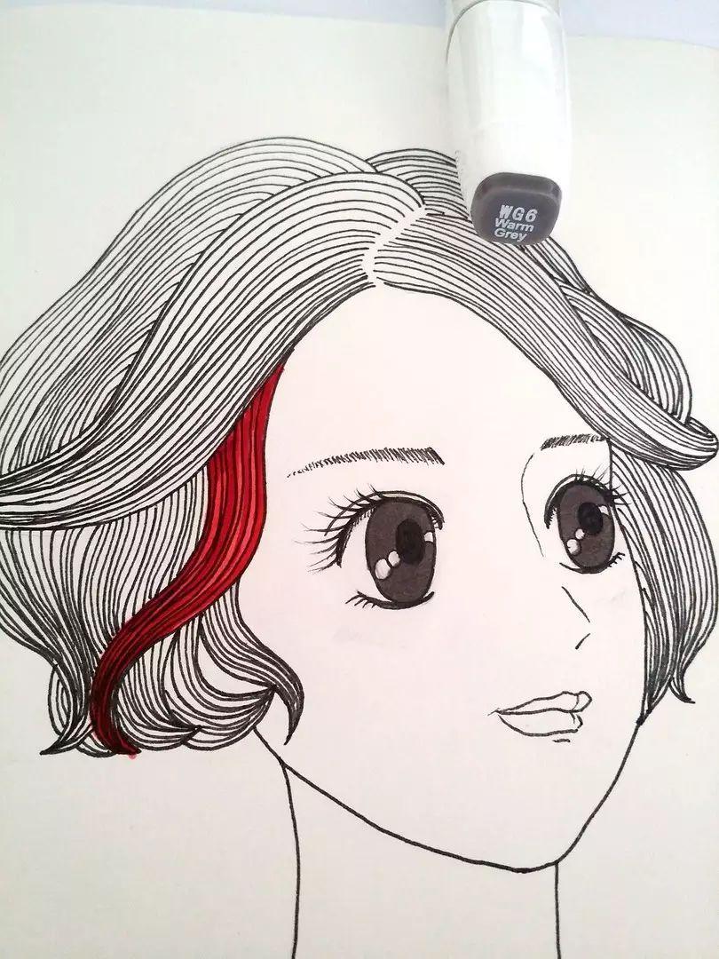 教你用马克笔画出漂亮又质感的头发!