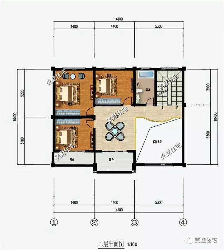 一层平面设计图:堂屋,客厅,餐厅,厨房,两间卧室和公共卫生间.