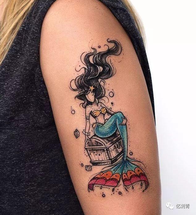 纹身分享——墨黑&彩线