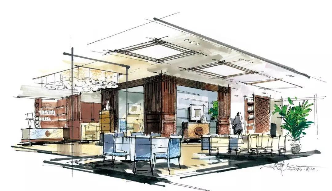 餐饮空间快题设计手绘