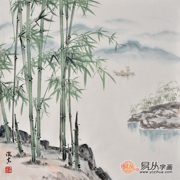 《竹报平安》描绘了清幽淡雅的竹子山水景色,整个画面中用的色彩较少