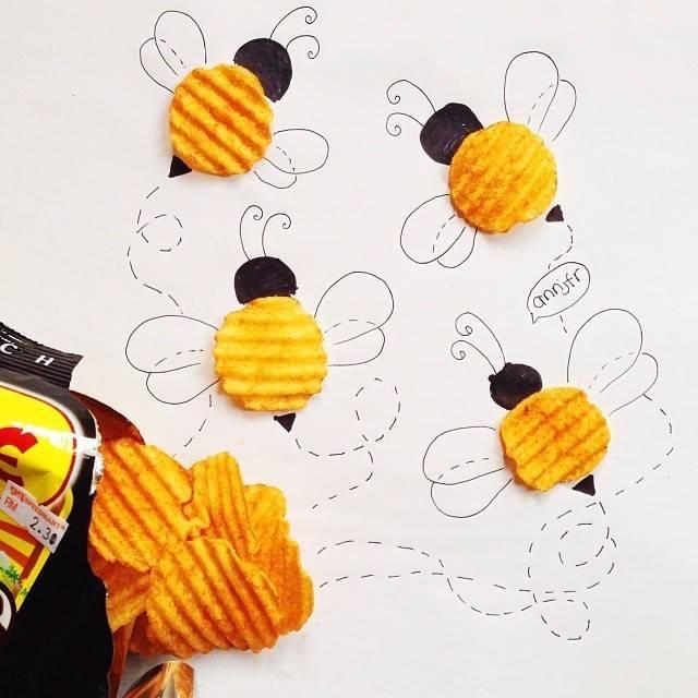 估计小蜜蜂比采的花蜜还香图片