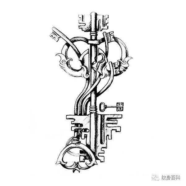 钥匙纹身手稿