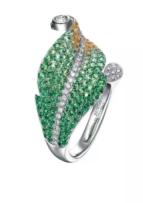 钉镶彩色宝石戒指图片
