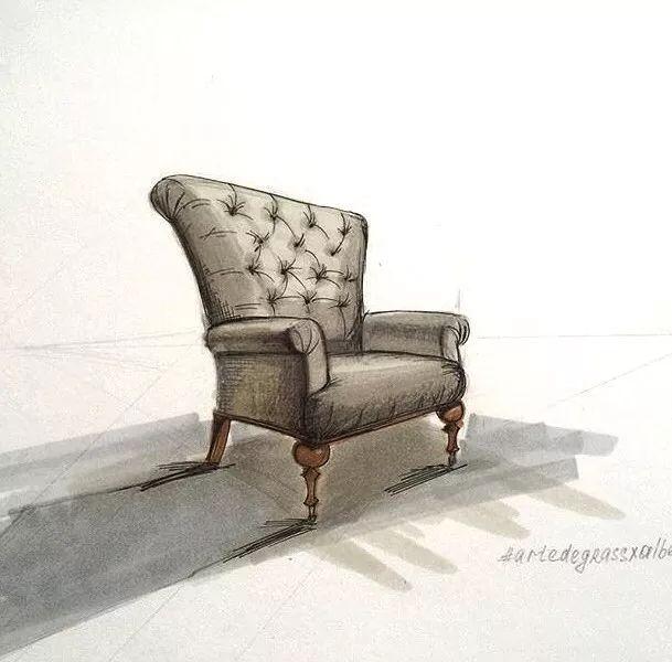 沙发单体手绘图片马克笔