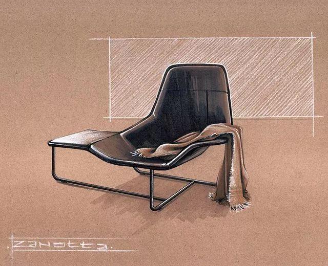 手绘椅子设计三视图效果图