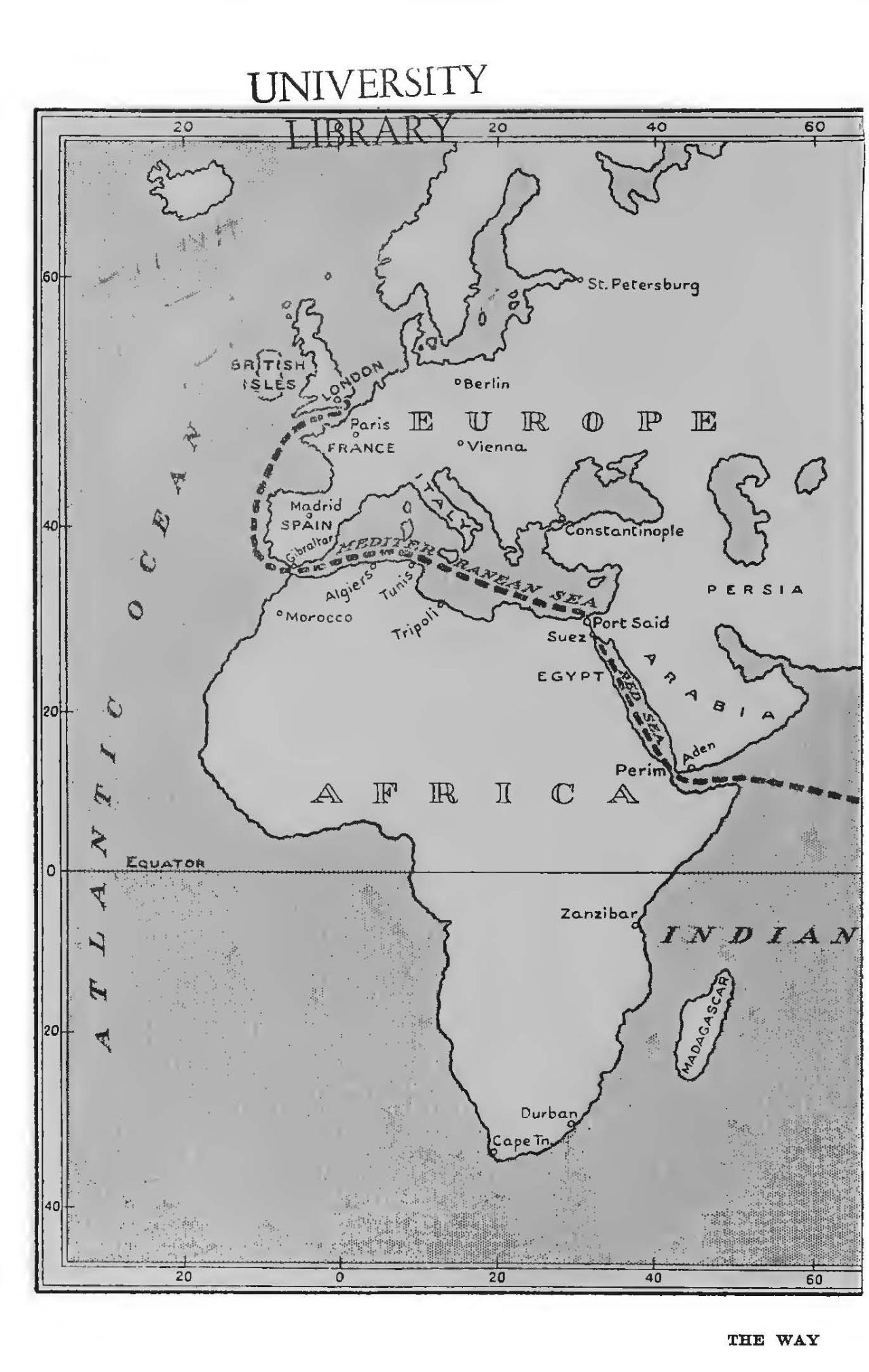 从伦敦到厦门路线图2  伦敦至塞得港 看看这本书前封页的地图,找到图片