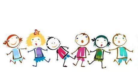 彩绘儿童插画设计矢量素材简笔画儿童手拉手矢量图