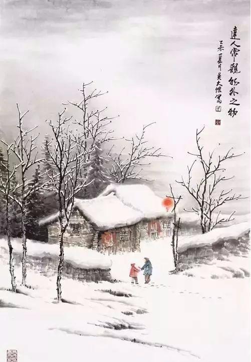 文化 正文  欣赏四川画家吴大恺的这些雪景山水,会把我们一下勾回到图片