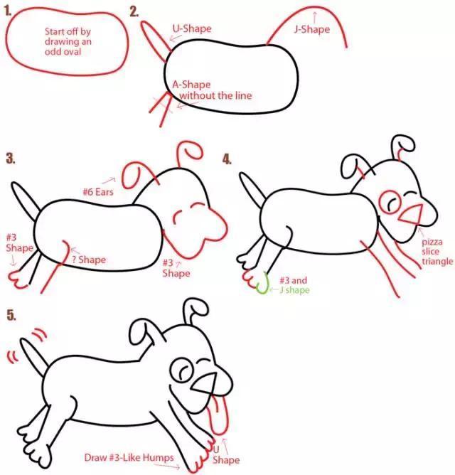 儿童简笔画 2018狗年,教你用字母和数字,画出8种不同的小狗