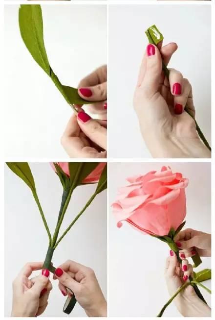 绿胶布,用纸包好的电线(共6根,三根主茎,三根叶子) 折纸玫瑰花 2