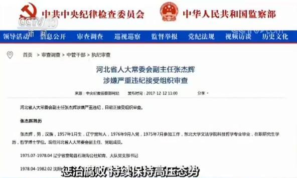 """去年18名中管干部接受审查 十九大后五""""虎""""落马"""
