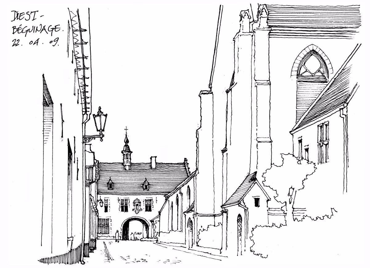 钢笔画临摹 古建筑