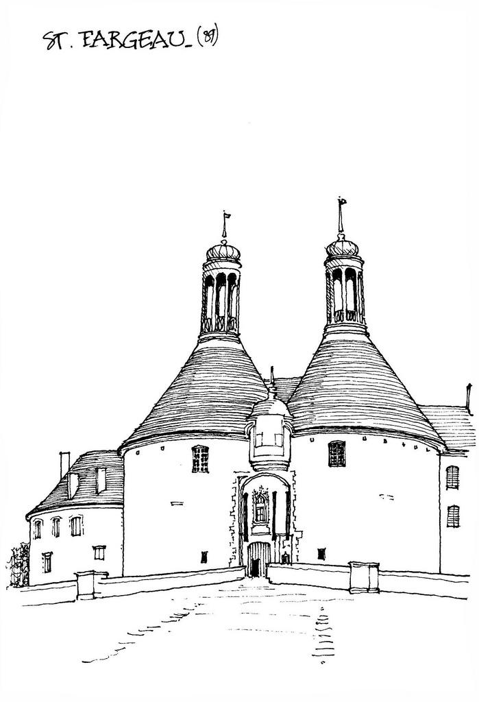建筑群钢笔手绘