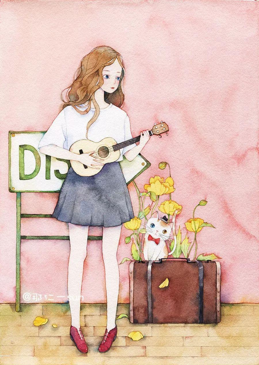 手绘教程》,作品常刊登于各青年杂志,现为《花火》等杂志特约封面插画