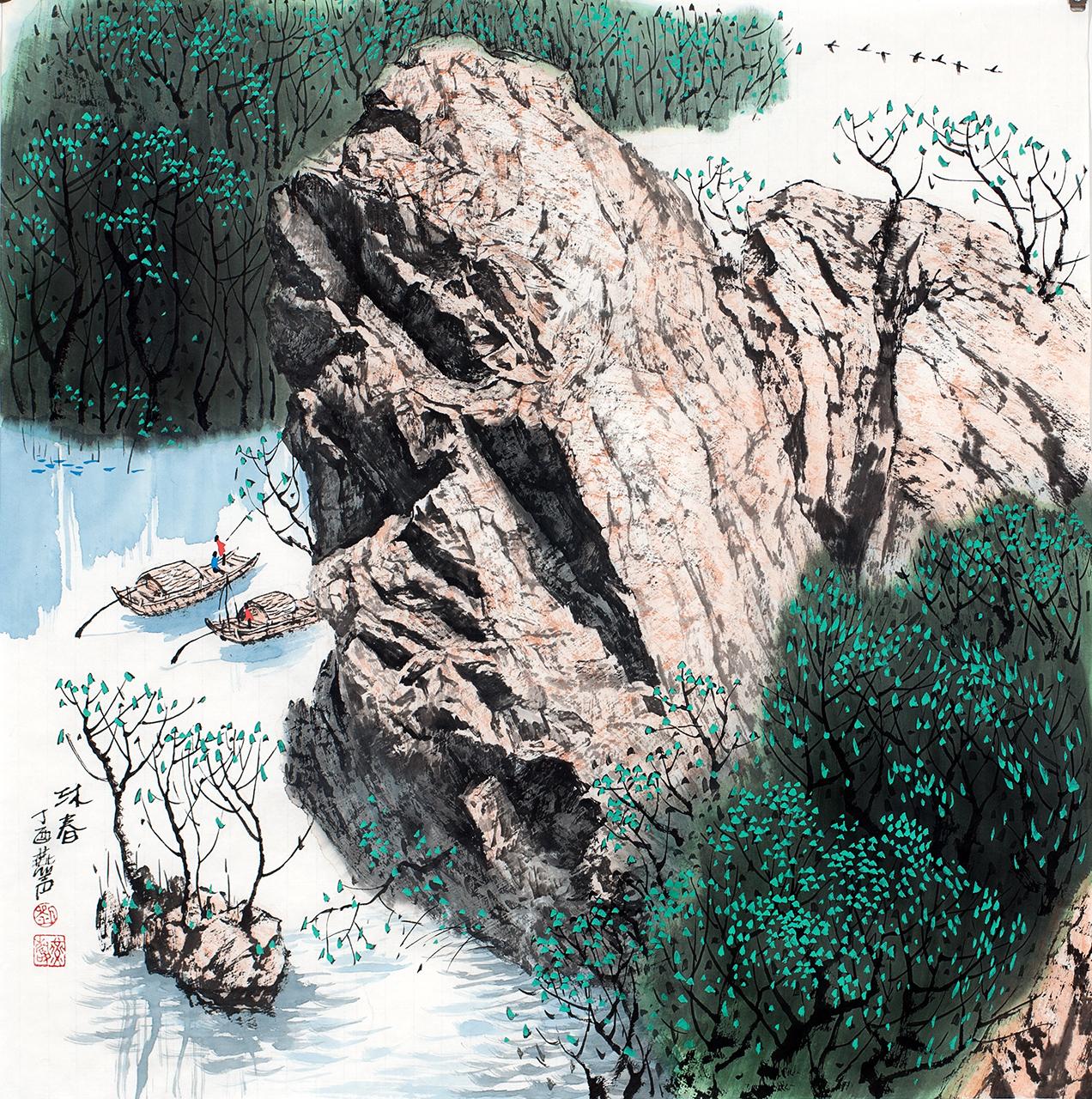 刘燕声现代山水画作品《沐春》68x68cm图片