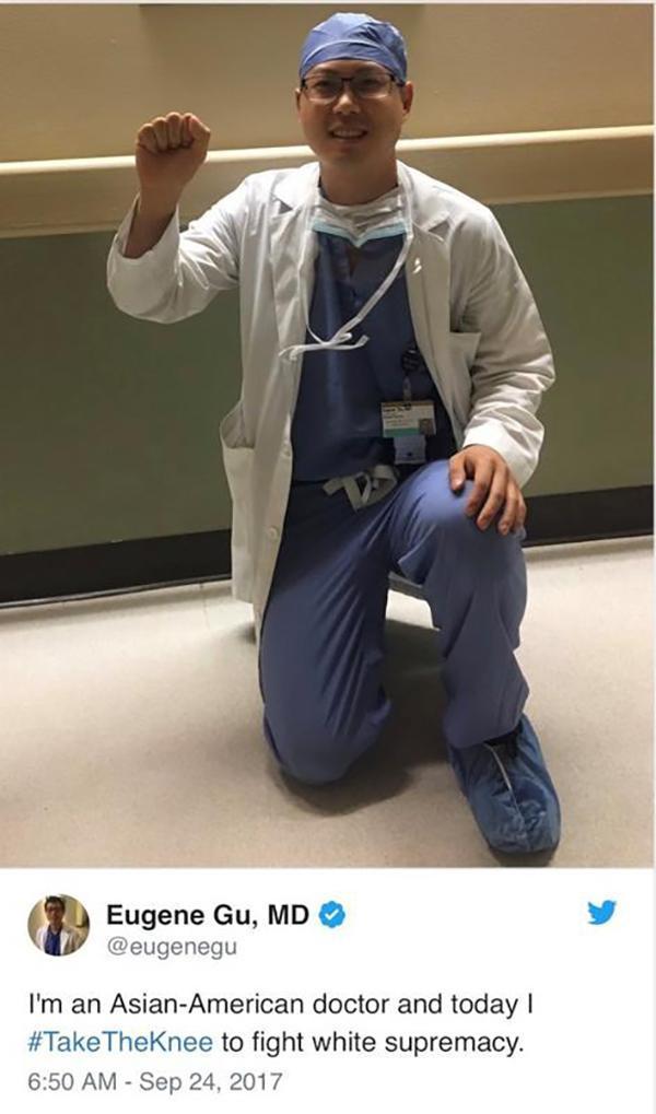 """美国华裔医生发单膝跪地照抗议""""白人至上主义"""",遭医院停职"""