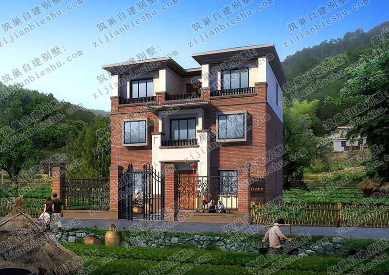 这款农村自建房别墅设计图现代时尚,红色的外墙砖搭配白色墙漆,经典
