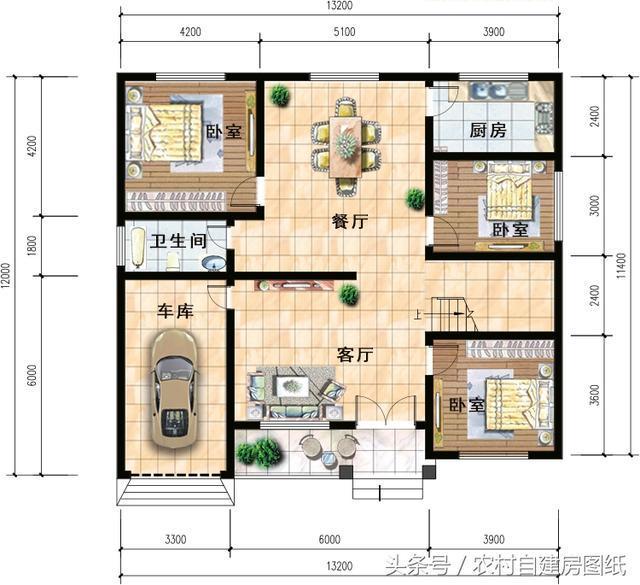 6款一层农村自建房设计图,20万的小别墅,款款带车库