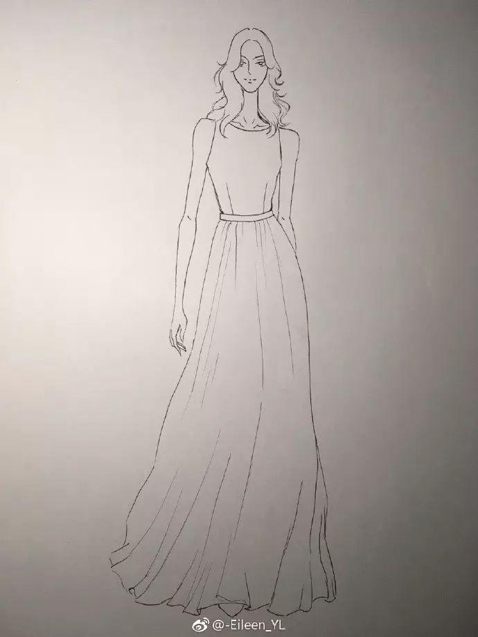 手绘服装效果图裙子