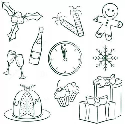 【手绘素材】圣诞节思维导图手绘小图标!
