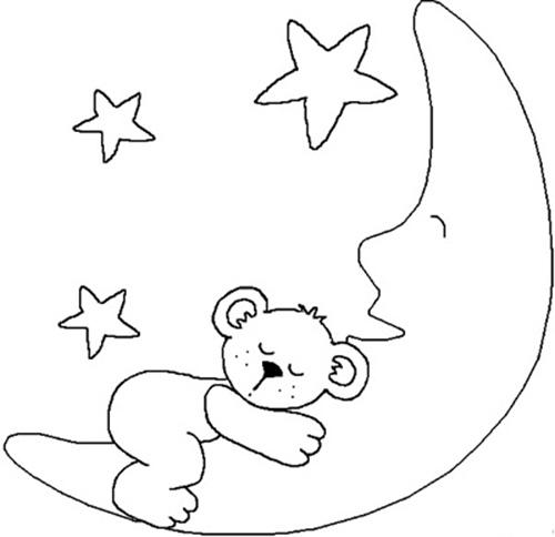 儿童简笔画在月亮上的小熊 简笔画 画画 好妈妈网