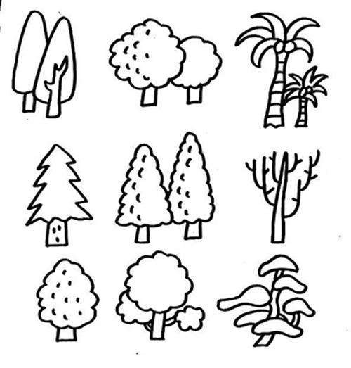 大树简笔画 大树和小树 大树简笔画