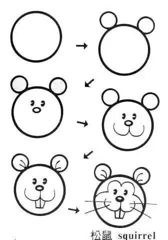 简笔画简单画 正方形简笔画38 冰淇淋 荷花 松鼠