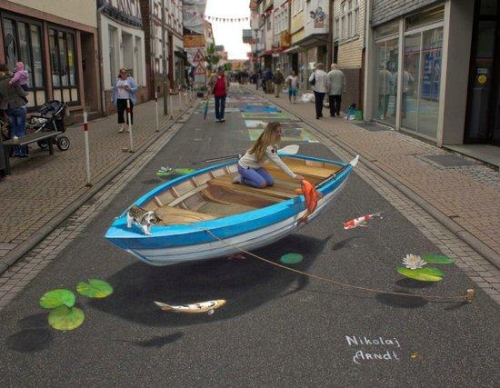 街头的3d手绘涂鸦太逼真,每一张都巧夺天工