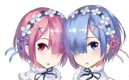 动漫 正文  粉色头发的是姐姐拉姆,蓝色头发是妹妹雷姆,姐妹两人都在图片