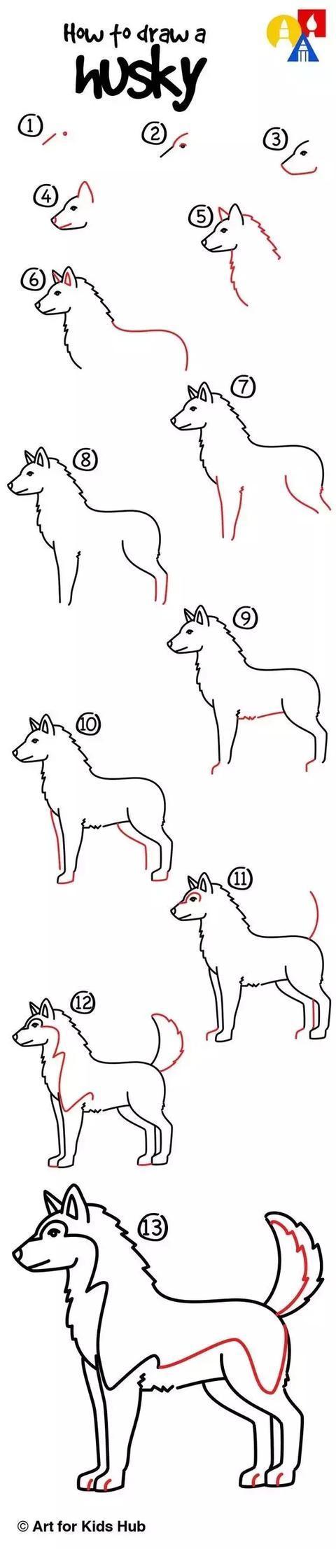 小狗简笔画9:哈士奇