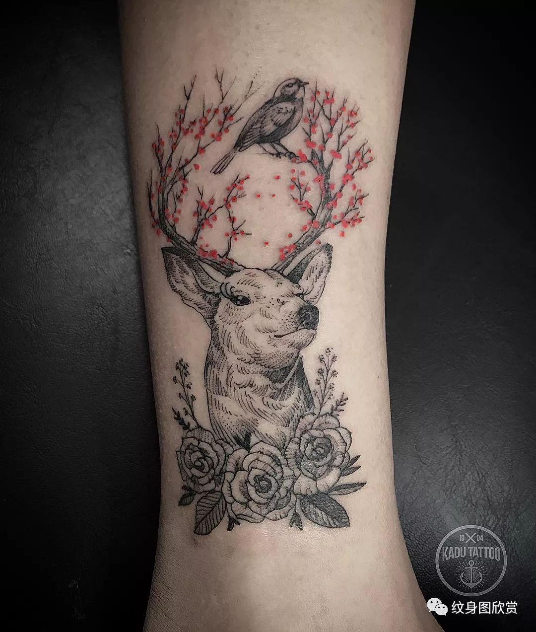 动物纹身 - 鹿纹身图案(87张)图片