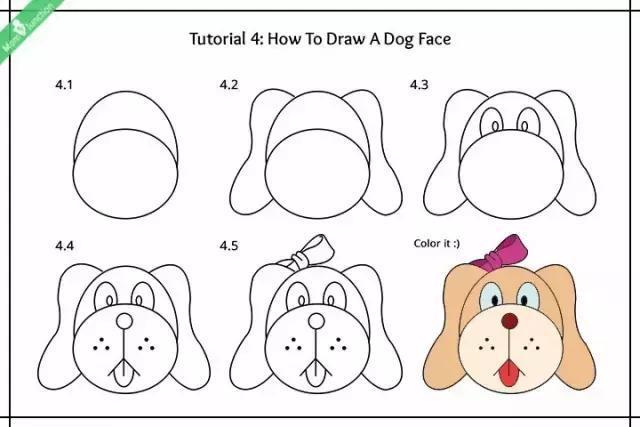 九个小狗的简笔画法详细教程